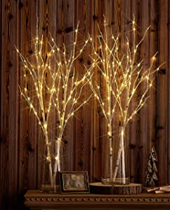Hairui Lighted Artificial Twig Birch Tree Branch with Fairy Lights 32in 100 LED Battery Operated Lighted Willow Branch for Christmas Wedding Party Decoration 2Set (Vase Excluded)