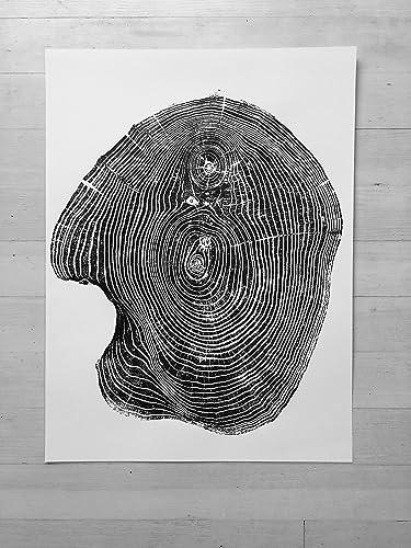 Amazon Com Mulberry Woodblock Tree Ring Print 18x24 Inches Handmade