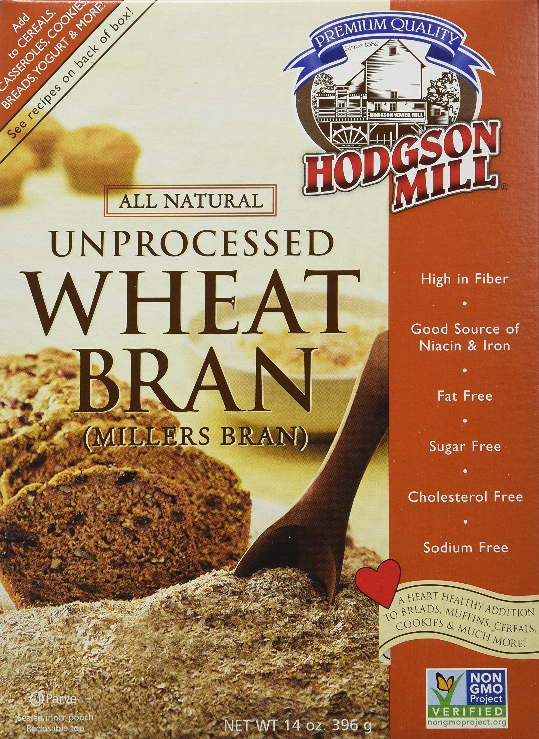 Hodgson Mill Wheat Bran Unprocessed, 14-Ounce (Pack of 6)