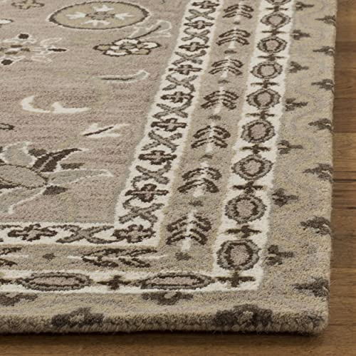 Safavieh Bella Collection BEL674B Handmade Taupe and Light Grey Premium Wool Area Rug 4 x 6