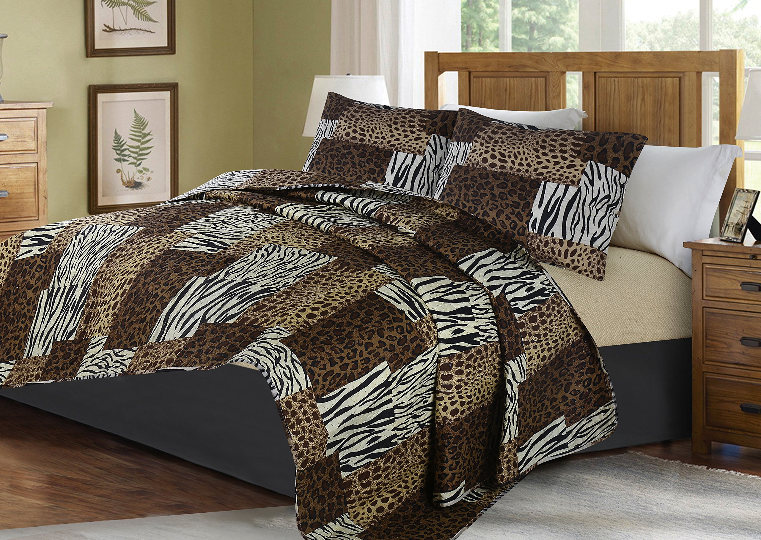 GorgeousHome African Wild Jungle Animals Bedroom Printed Quilt Bedspread Pinsonic Bed Dressing Bedding Cover 2/3pc Set in 3 Sizes Assorted (ANIMAL #5 ZEBRA, QUEEN)