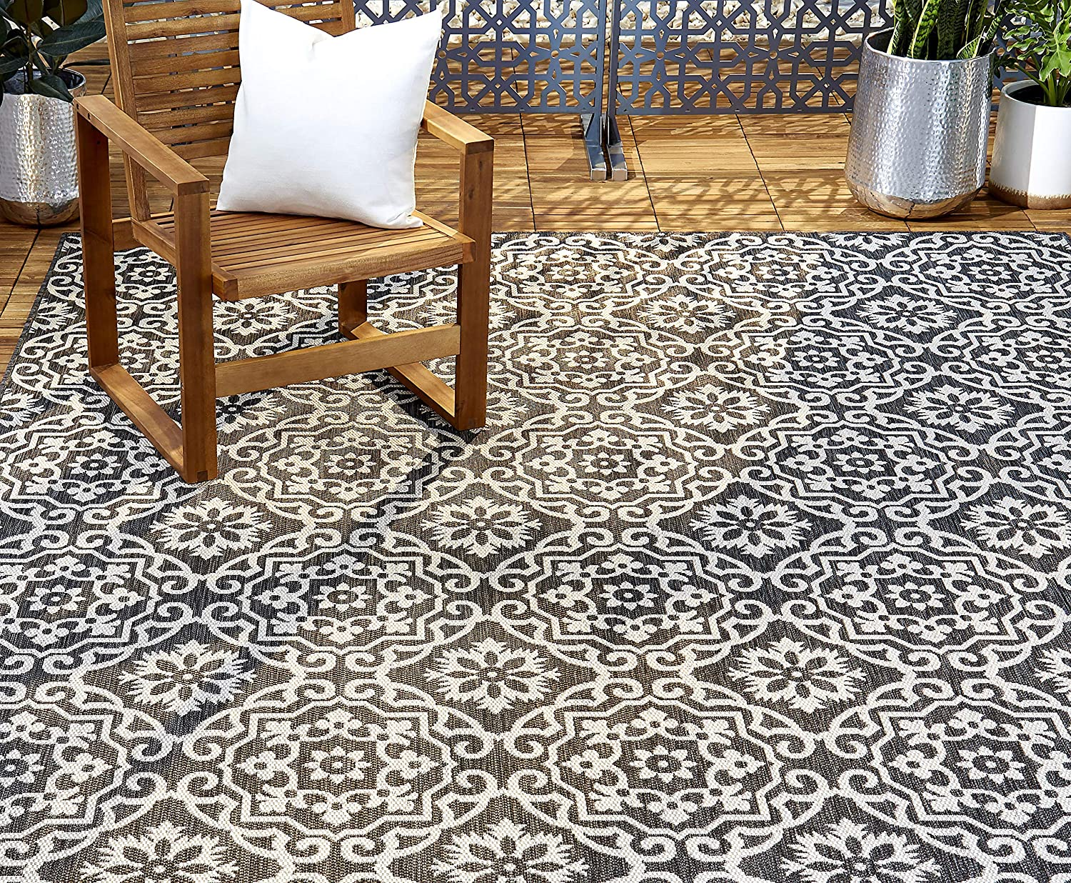 "Home Dynamix Patio Country Danica Area Rug, 7'9""x10'2"", Black/Gray"