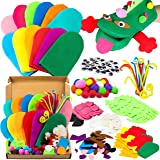 WATINC 12Pcs Hand Puppet Making Kit for Kids Art Craft Felt Sock Puppet Creative DIY Make Your Own Puppets Pipe Cleaners Pomp