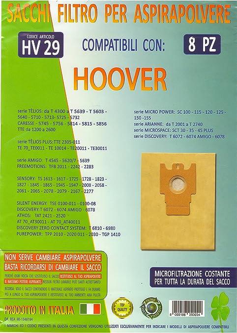 MFHV29 confezione 8 pezzi sacchetti ricambio HOOVER compatibilità modelli in foto e nella descrizione