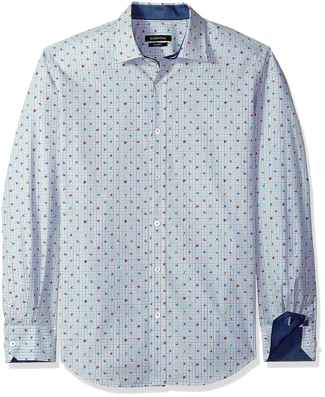 BUGATCHI Mens Lightweight Premium Cotton Print Slim Fit Point Collar Shirt