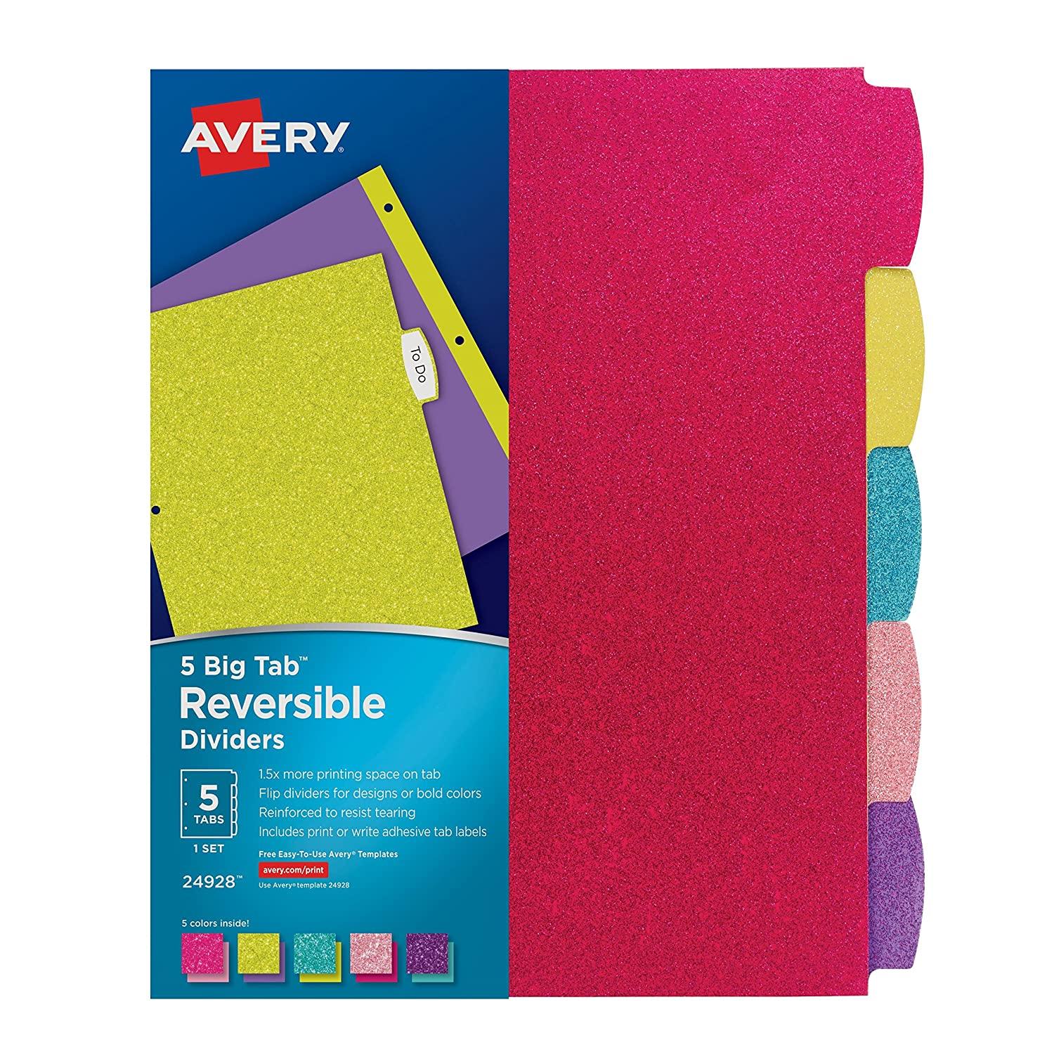 Amazon avery big tab reversible fashion dividers 5 tabs 1 amazon avery big tab reversible fashion dividers 5 tabs 1 set assorted glitter colors 24928 office products pronofoot35fo Images