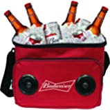 Budweiser Soft Cooler Bag with Built in Bluetooth Speakers – Compatible with all Bluetooth and non-Bluetooth enabled iPhones, smartphones, Tablets, MP3 Players, CD Players, and More – Red