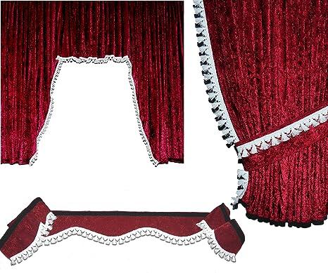 Mandys Truckershop Lkw Gardinen Set 09 Mit Fsb Wf Aus Pannesamt Bordeaux Mit Bommel Weiß Passend Für Daf Xf 95 105 106 Super Space Cap Auto