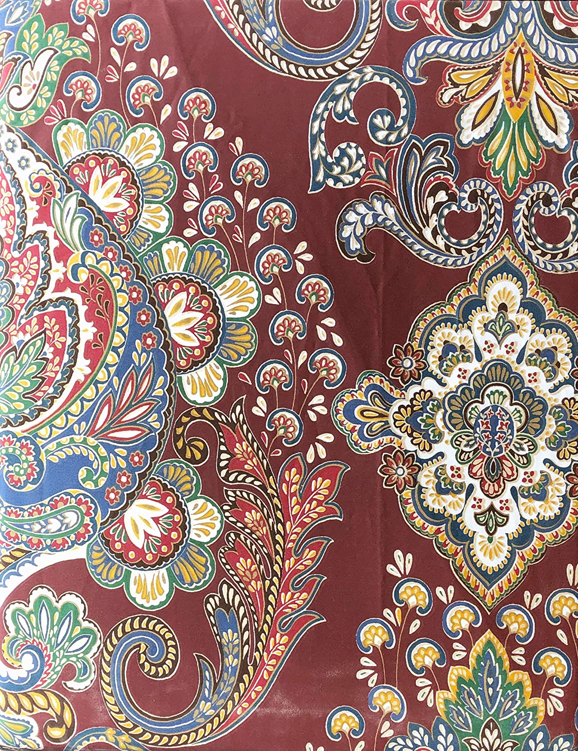 Tahari Home Bedding 3 Piece King Size Luxury Duvet Comforter Cover Pillowcases Shams Set Paisley Medallions Pattern in Shades of Red Blue Green Taupe White