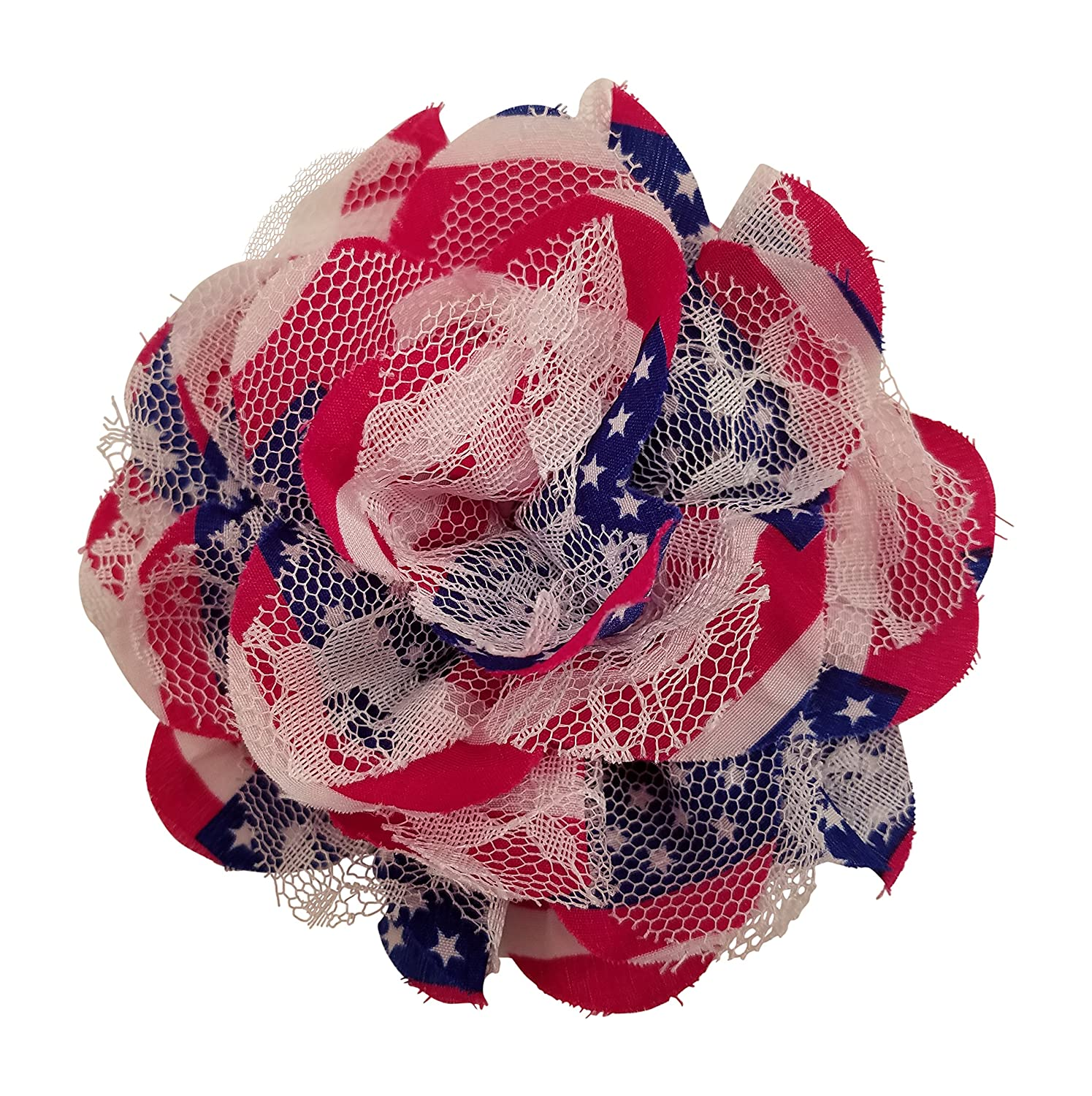 Pack of 6 Chiffon Fabric Flowers or Crafts Patriotic 4th of July Lace Flowers for Headbands Decorations Red White and Blue