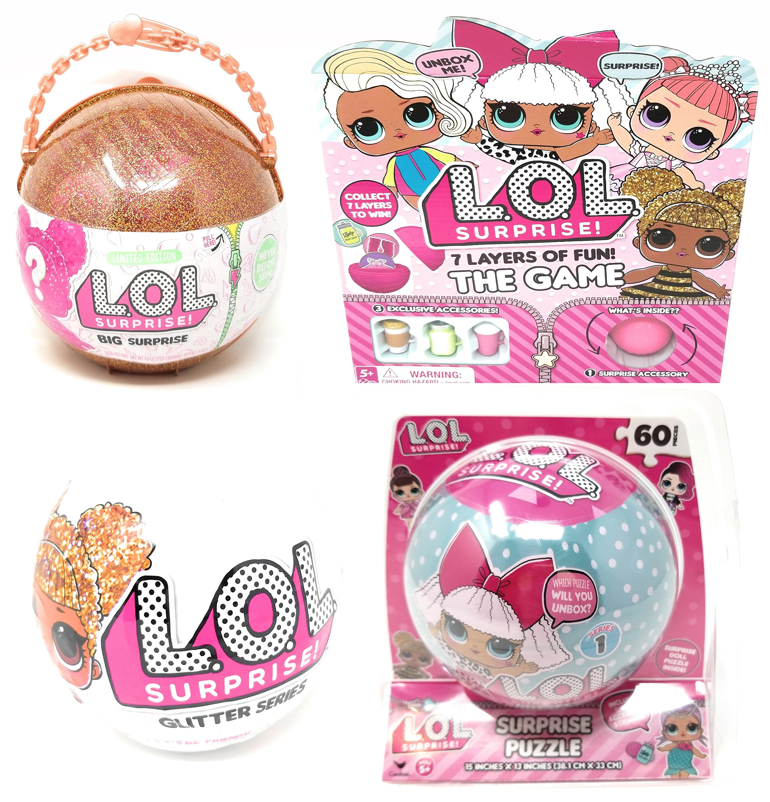 Cardinal Games L.O.L. Surprise! 7 Layers of Fun The Game, Glitter Ball and Puzzle Bundle