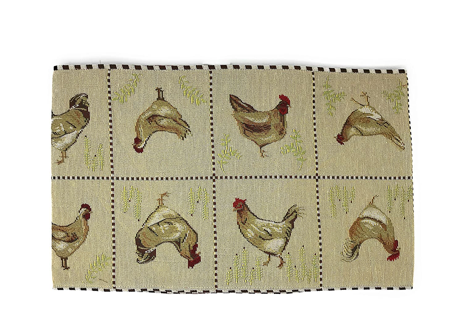Tache Country Farmhouse Style Rooster Chicken Hens Vintage Decorative Woven Tapestry Dresser Kitchen Coffee Table Runners, 13x54