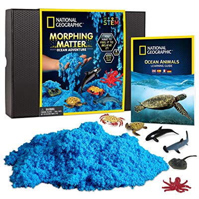 NATIONAL GEOGRAPHIC Ocean Morphing Matter – Play Set Comes with 3 Cups of Morphing Matter, 6 Ocean Animal Figures, Great Kinetic Sensory Activity for Boys & Girls: Toys & Games