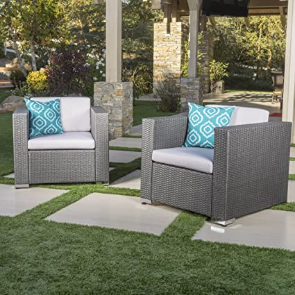 Verin Outdoor Grey Wicker Club Chair With Silver Cushions (Set Of 2)