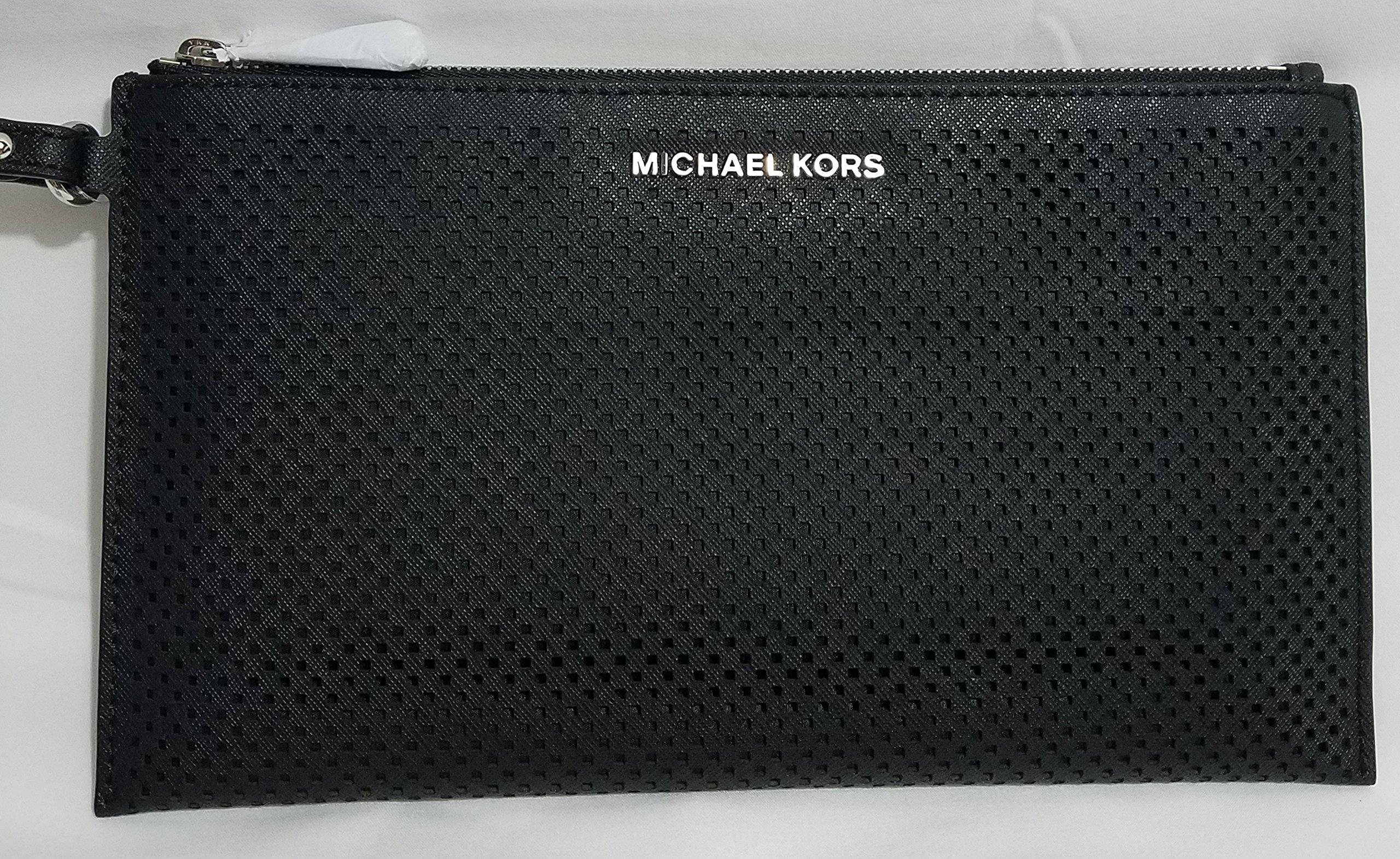 Michael Kors Women's Large Jet Set Travel Zip Leather Clutch Baguette - Black