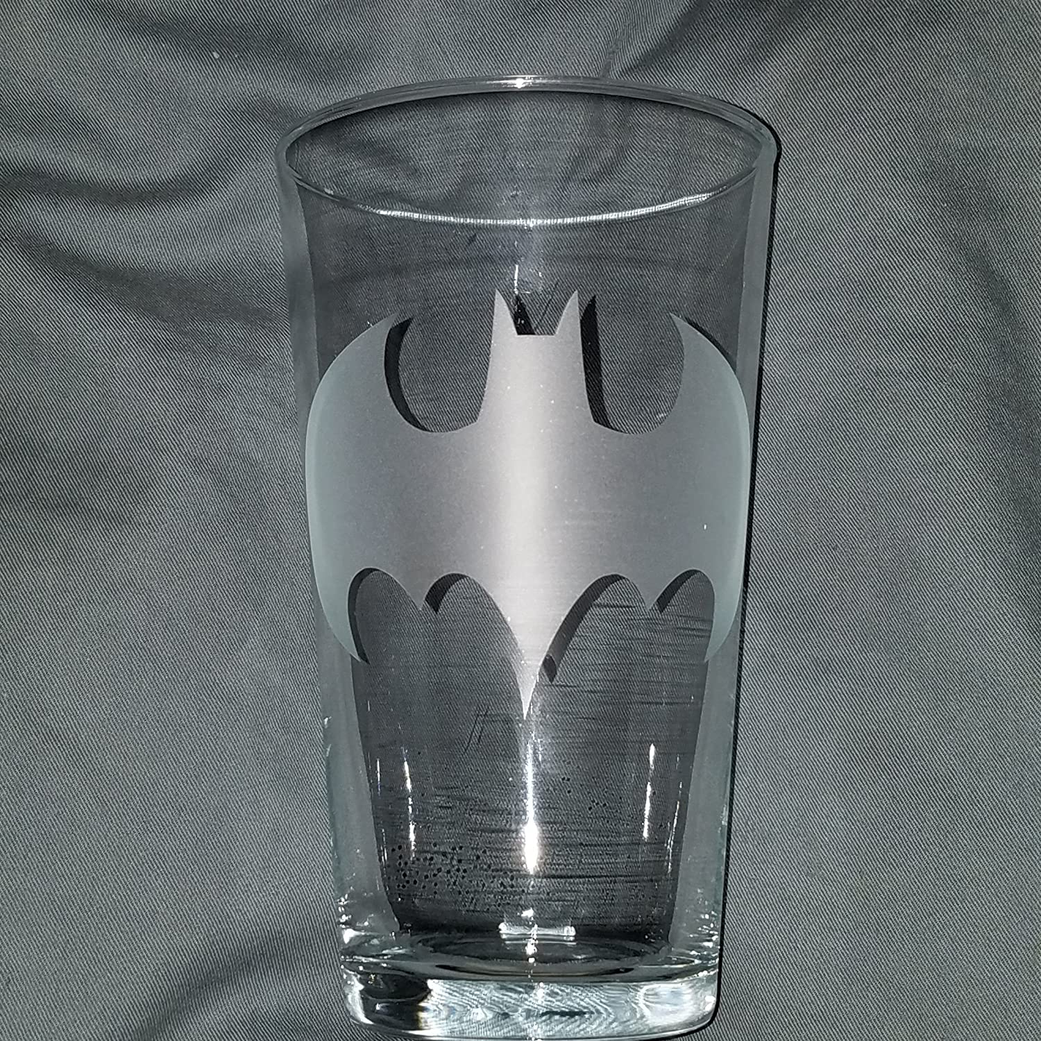 Your own Bat signal......from your drinking glass Set of 2 16oz Pint Style Glasses