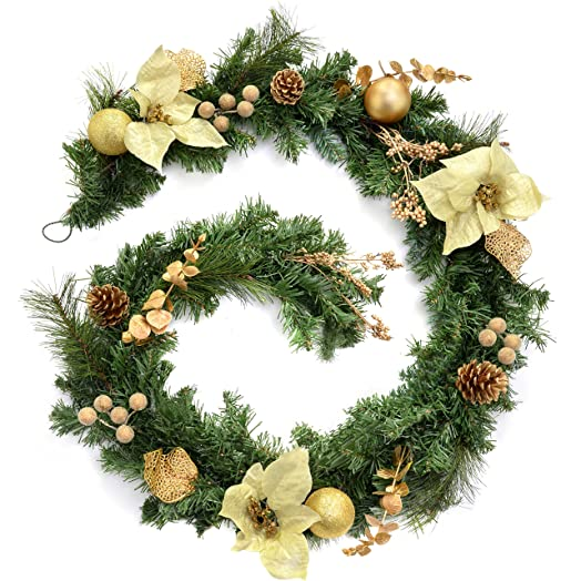 decorated garland christmas decoration 6 feet creamgold
