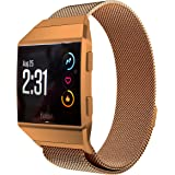 LoveBlue for Fitbit Ionic Band,Magnetic Milanese Loop Stainless Steel Band Replacement Accessories for Fitbit Ionic(Burnt Orange-Small Size)