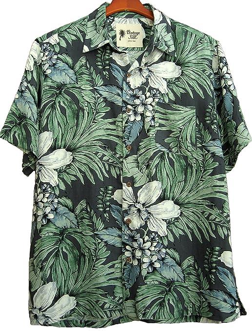 Mens Silk Linen Blend Hawaiian Camp Shirt Grey Floral Casual  AT vintagedancer.com