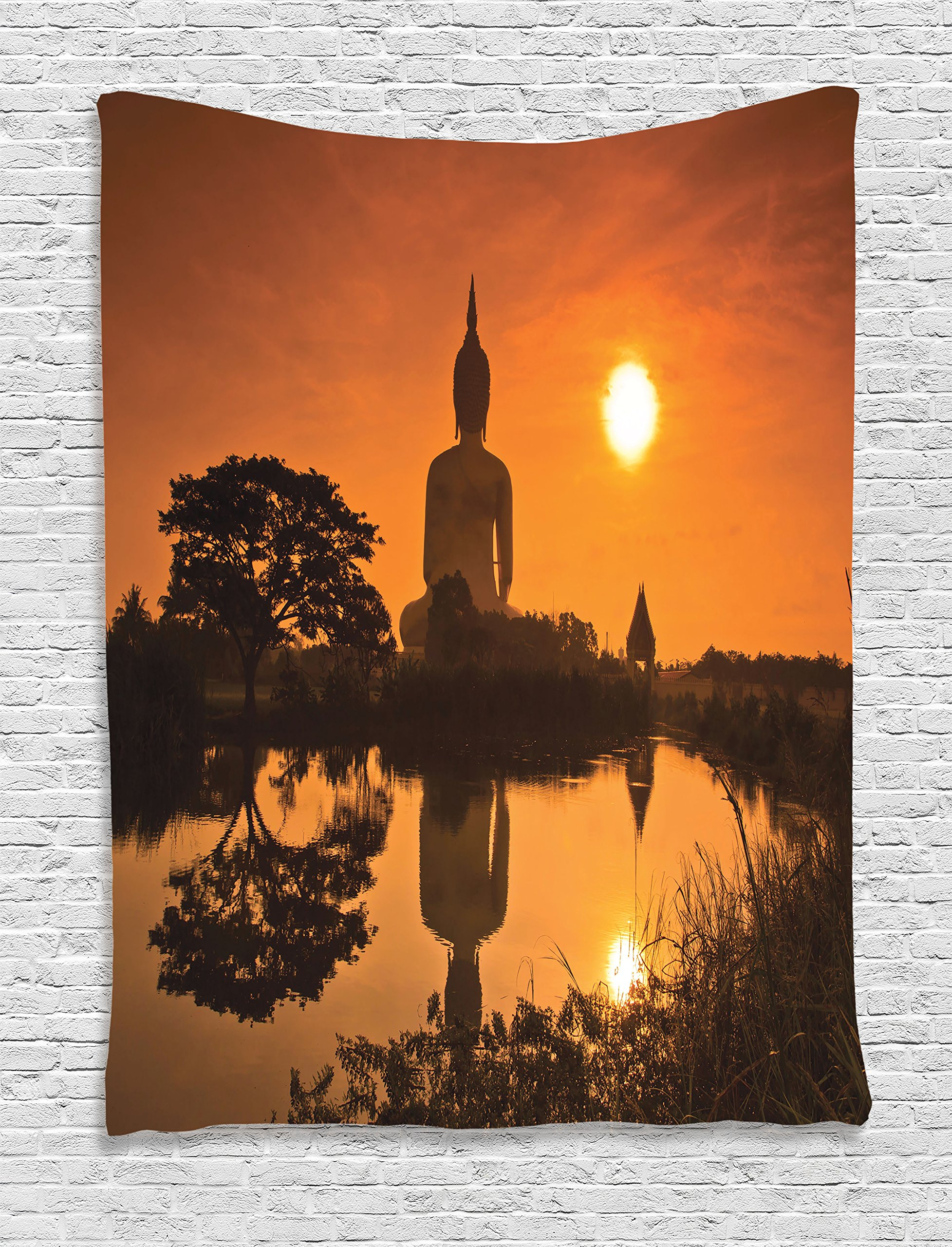 Ambesonne Orange Tapestry Yoga Decor, Big Giant Religious Statue by The River at Sunset Thai Asian Culture Scene Yin Yang Print, Bedroom Living Room Dorm Wall Hanging Tapestry, Burnt Orange by Ambesonne