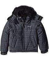 London Fog Boys' Heavyweight Teddy Faux Fur Lined Classic Bubble Jacket