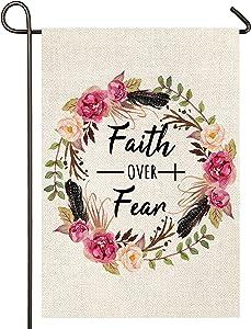 Atenia Faith Over Fear Wreath Garden Porch Flag, Double Sided Garden Outdoor Yard Spring Decorative Dark Floral Flags for Summer Decor (Garden Size - 12.5X18)
