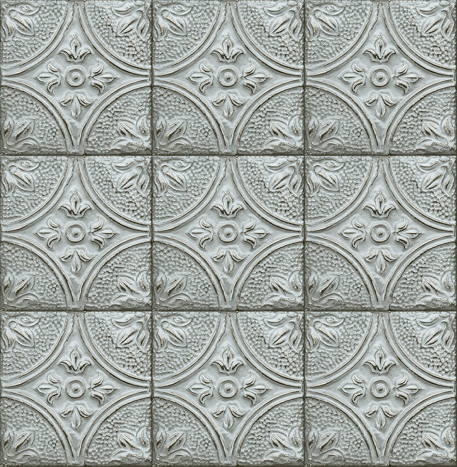 Tin Ceiling Look Wallpaper White//Gilver