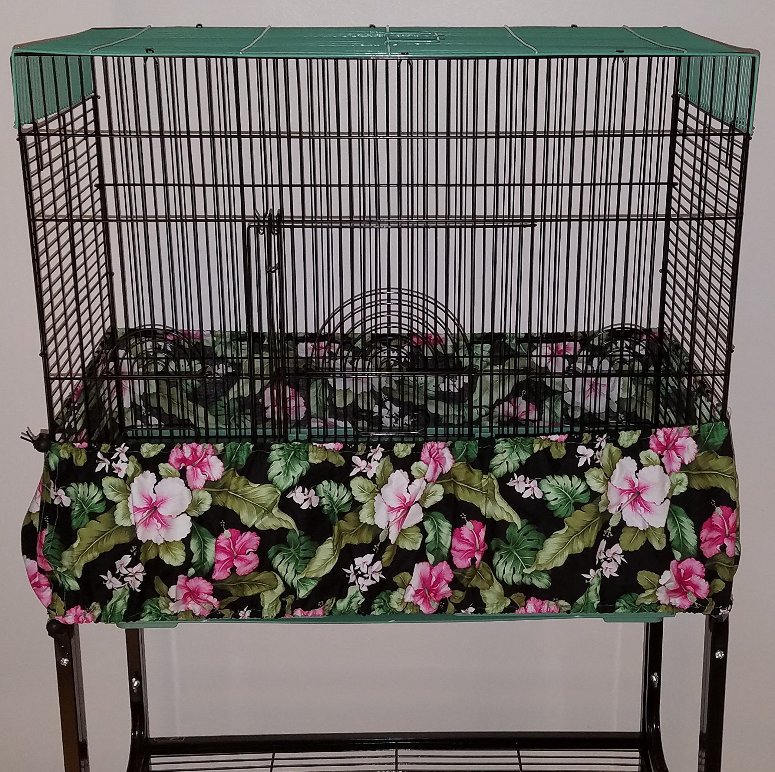 Penn Seed Seed Guard and Catcher Bird Cage Skirt - Fuchsia Hibiscus, Small (38''-76'' Cage Circumference) by Penn Seed