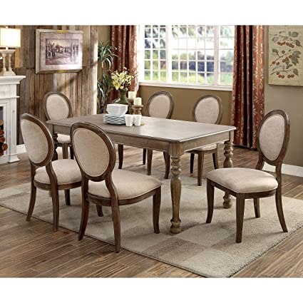 Merveilleux Furniture Of America Lelan Rustic Country 7 Piece Dark Oak/Ivory Dining Set