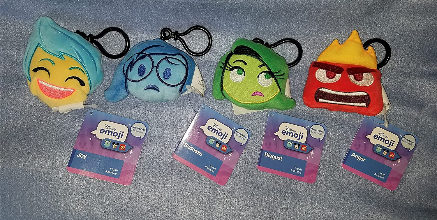 Amazon.com: Disney Inside Out Reversible Plush Emoji Backpack Clip Keychain Set: Joy - Sadness - Anger - Disgust: Toys & Games