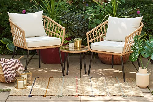 Quality Outdoor Living 65-YZSP02 Hermosa 3 Piece Chat Set, Tan Wicker Light Beige Cushions