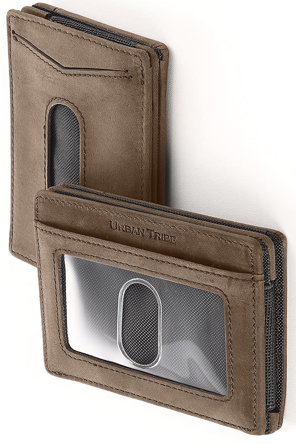 ca6dcf22b8f Compact RFID Card Sleeve Wallet Premium Leather Money Clip Card Holder 10  Cards