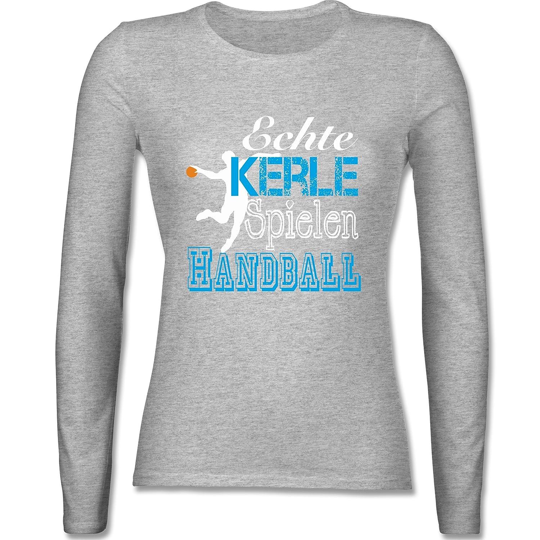c5ea7c669b Beste Shirtracer Handball - Echte Kerle Spielen Handball Weiß - Damen  Langarmshirt