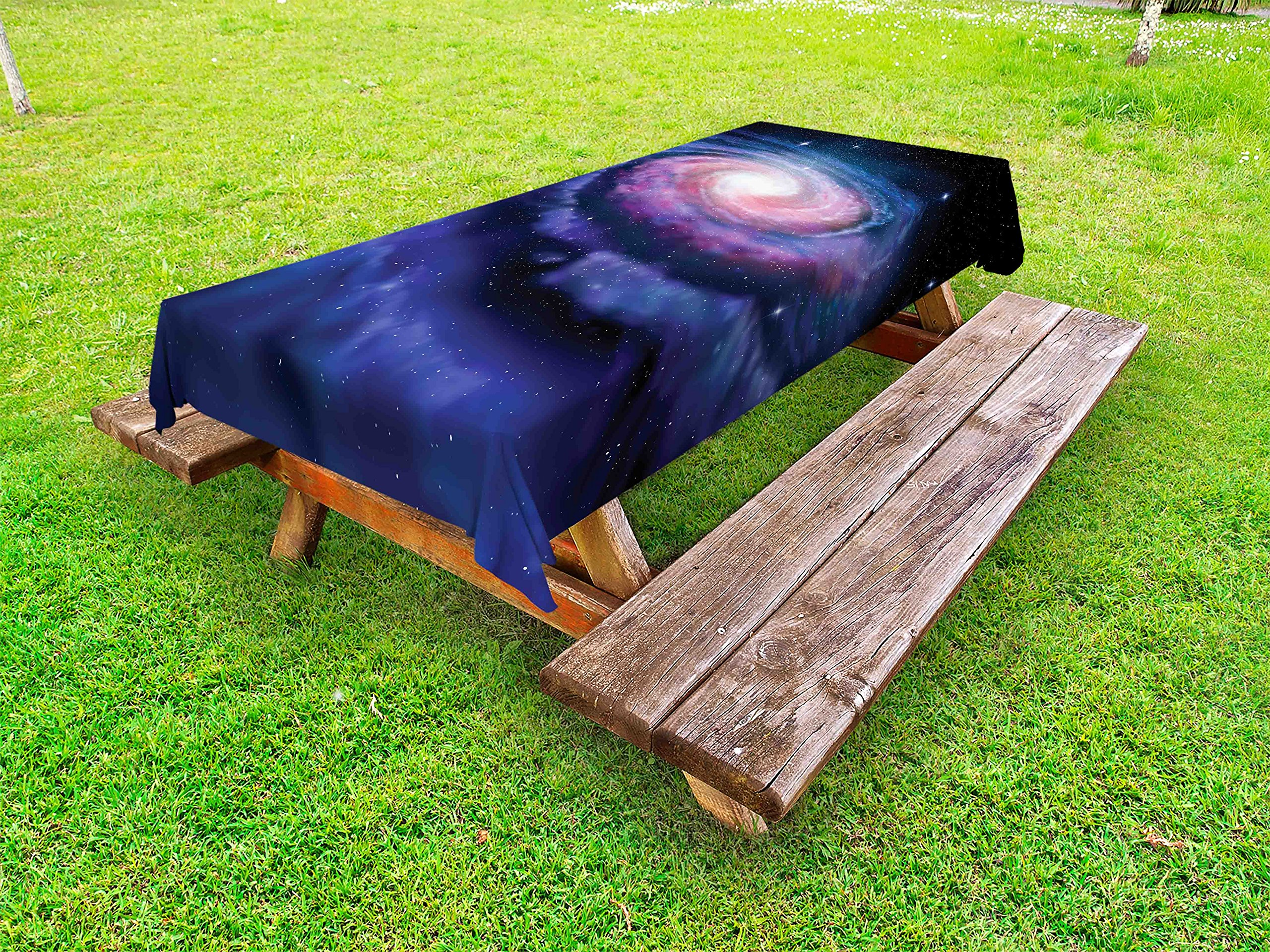Lunarable Outer Space Outdoor Tablecloth, Spiral Cosmic Energy with Dark Nebula Cloud Burst Solar System Universe Image, Decorative Washable Picnic Table Cloth, 58 X 84 inches, Blue Purple