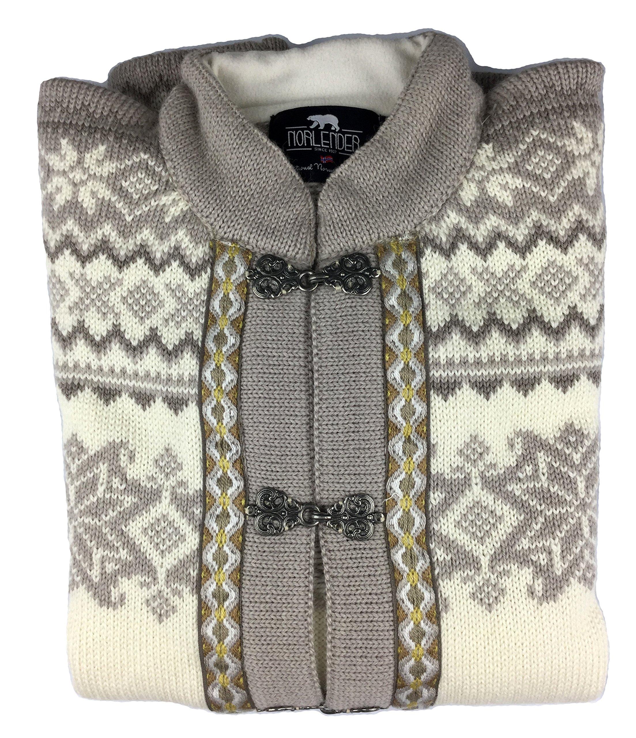 Norlender Norwegian 100% Wool Voss Cardigan Sweater w/ FREE $75 Norlender 100% Wool Scarf by Norlender