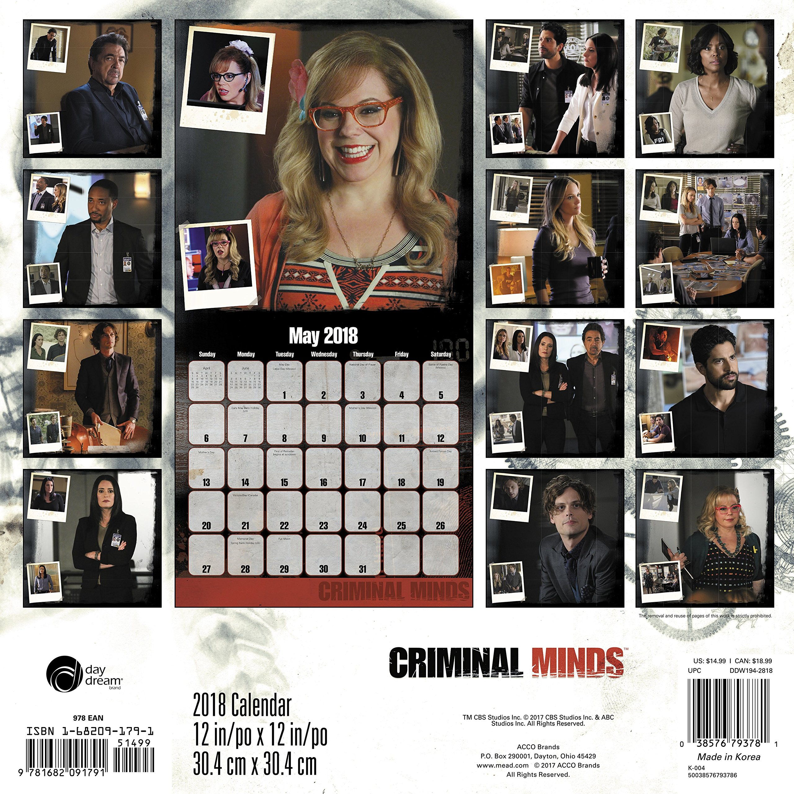 Amazon 2018 criminal minds wall calendar day dream amazon 2018 criminal minds wall calendar day dream 0038576793781 day dream books m4hsunfo