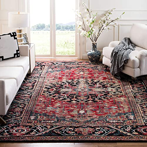 Safavieh Vintage Hamadan Collection VTH215A Oriental Antiqued Red and Multi Area Rug 8 x 10