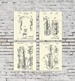 Saxophone Decor Patent Art Prints Set of 4 Unframed Musical Wall Decor Musician Gifts Patents_Saxophone_Crm4A