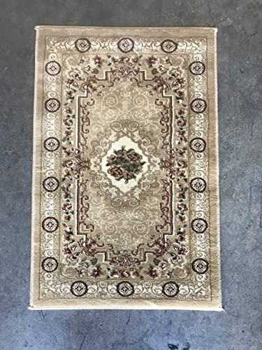 Traditional Door Mat Floral 500,000 Point Beige Burgundy-Ivory Green Aubusson Area Rug Design 403 2 Feet X 3 Feet 4 Inch