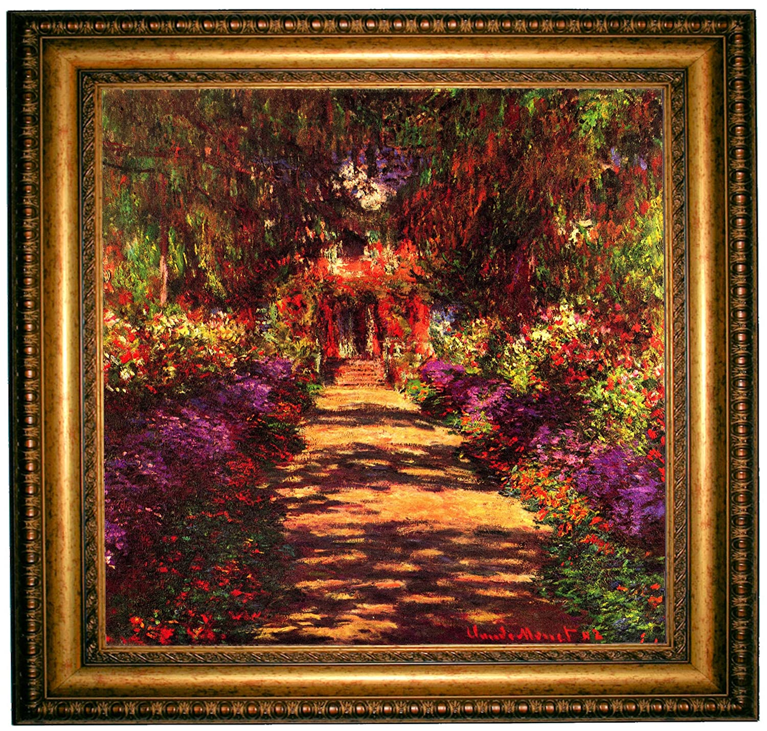 Amazon.com: Monet Path in Monets Garden in Giverny - Gold Framed ...