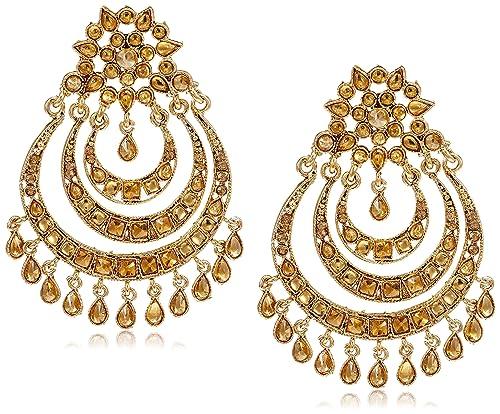 Buy Zaveri Pearls Chand Bali Earrings For Women Golden Zpfk7152