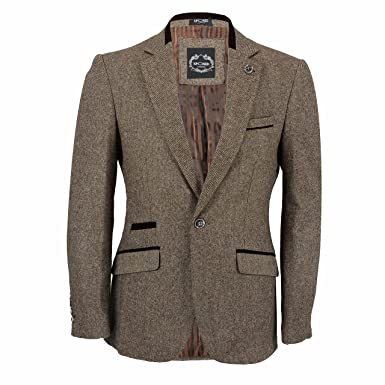 5bfdfefe4b59 Mens Brown Tweed Brown Velvet Trim Elbow Patch Fitted Blazer Waistcoat Vest  Designer Vintage Jacket: Amazon.co.uk: Clothing