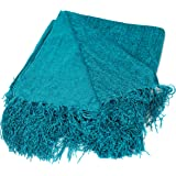 BirdRock Home Internet's Best Chenille Throw Blankets | Teal | Ultra Soft Couch Blanket with Fringe | Light Weight Sofa Throw | 100% Microfiber Polyester | Easy Travel | Bed | 50 x 60