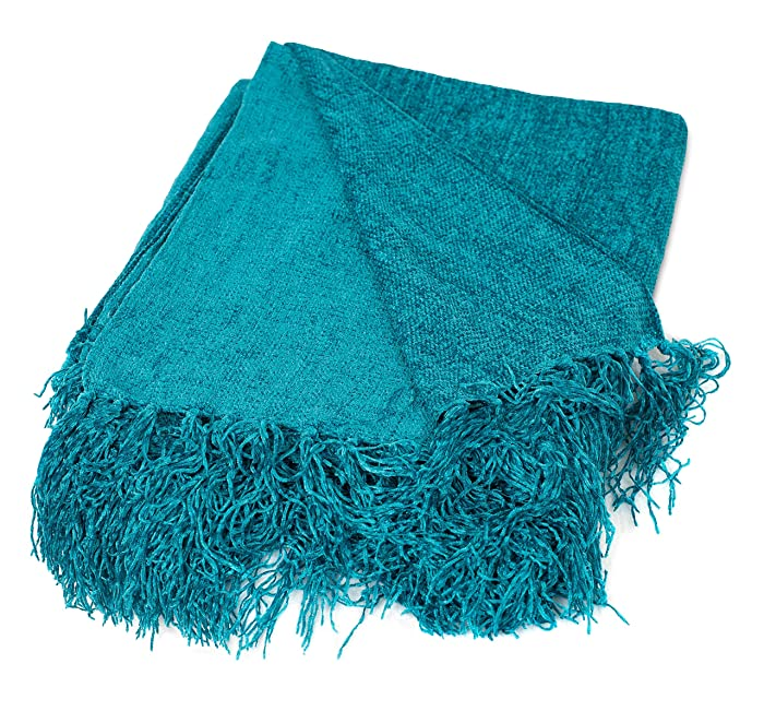 BirdRock Home Internet's Best Chenille Throw Blankets - Teal - Ultra Soft Couch Blanket with Fringe - Light Weight Sofa Throw - 100% Microfiber Polyester - Easy Travel - Bed - 50 x 60