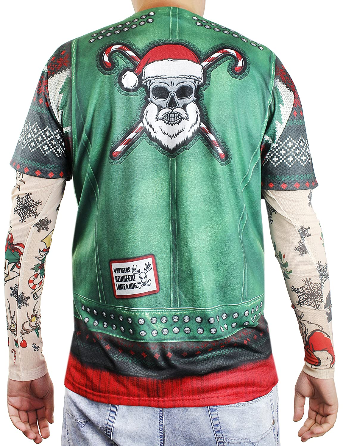 87a3ab13a063f Amazon.com  Faux Real Xmas Biker with Tattoo Sleeve Printed T-Shirt ...