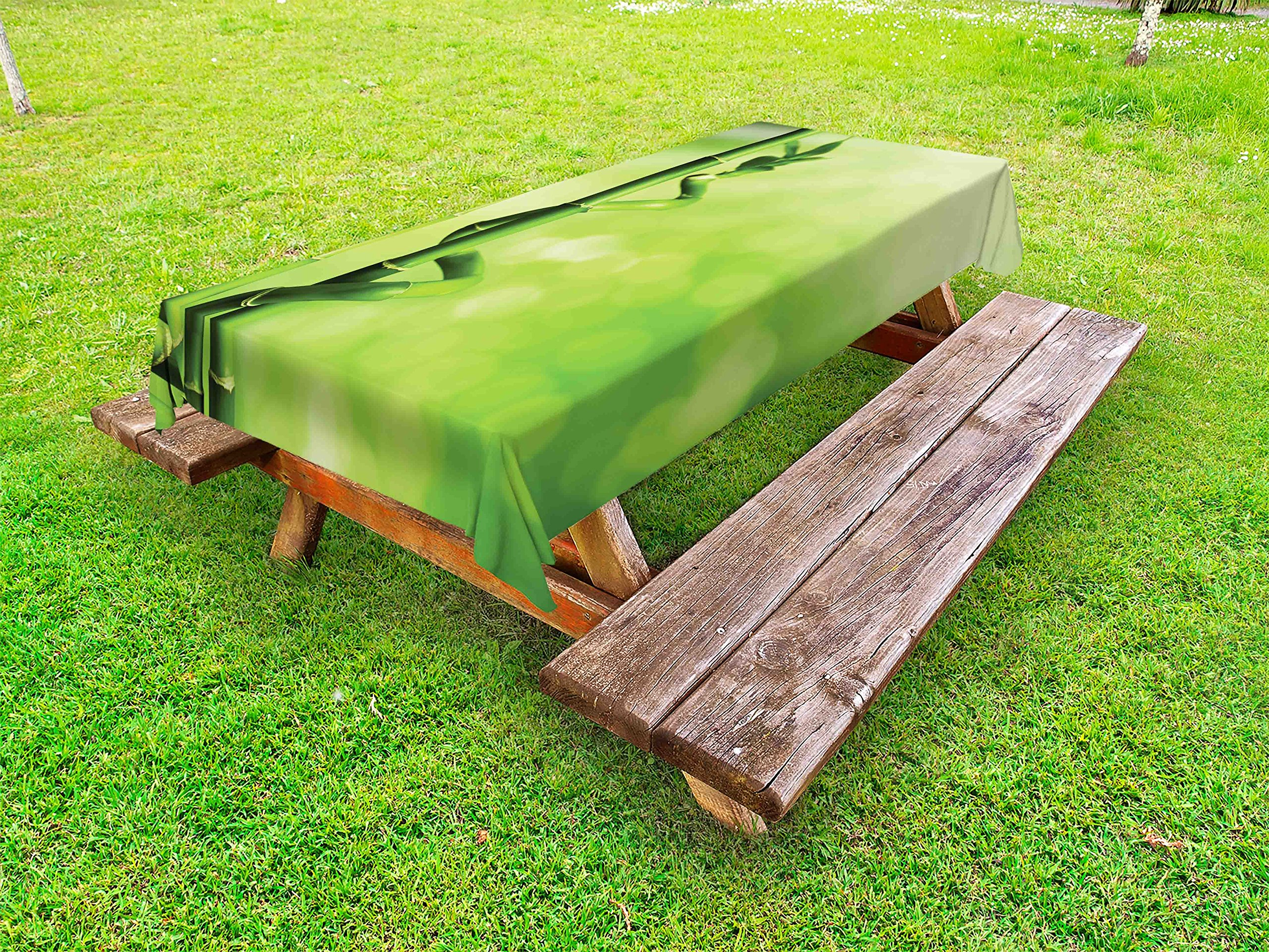 Lunarable Green Outdoor Tablecloth, Bamboo Stems Nature Ecology Sunbeams Soft Spring Scenic Spa Health Relaxation, Decorative Washable Picnic Table Cloth, 58 X 104 inches, Green Pale Green