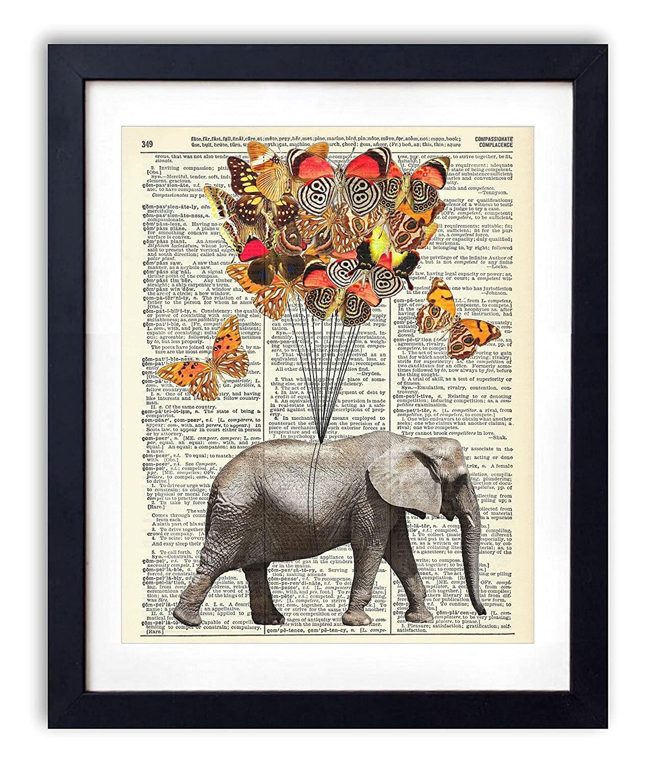 Elephant With Butterflies #1 Upcycled Wall Art Vintage Dictionary Art Print 8x10 inches / 20.32 x 25.4 cm Unframed