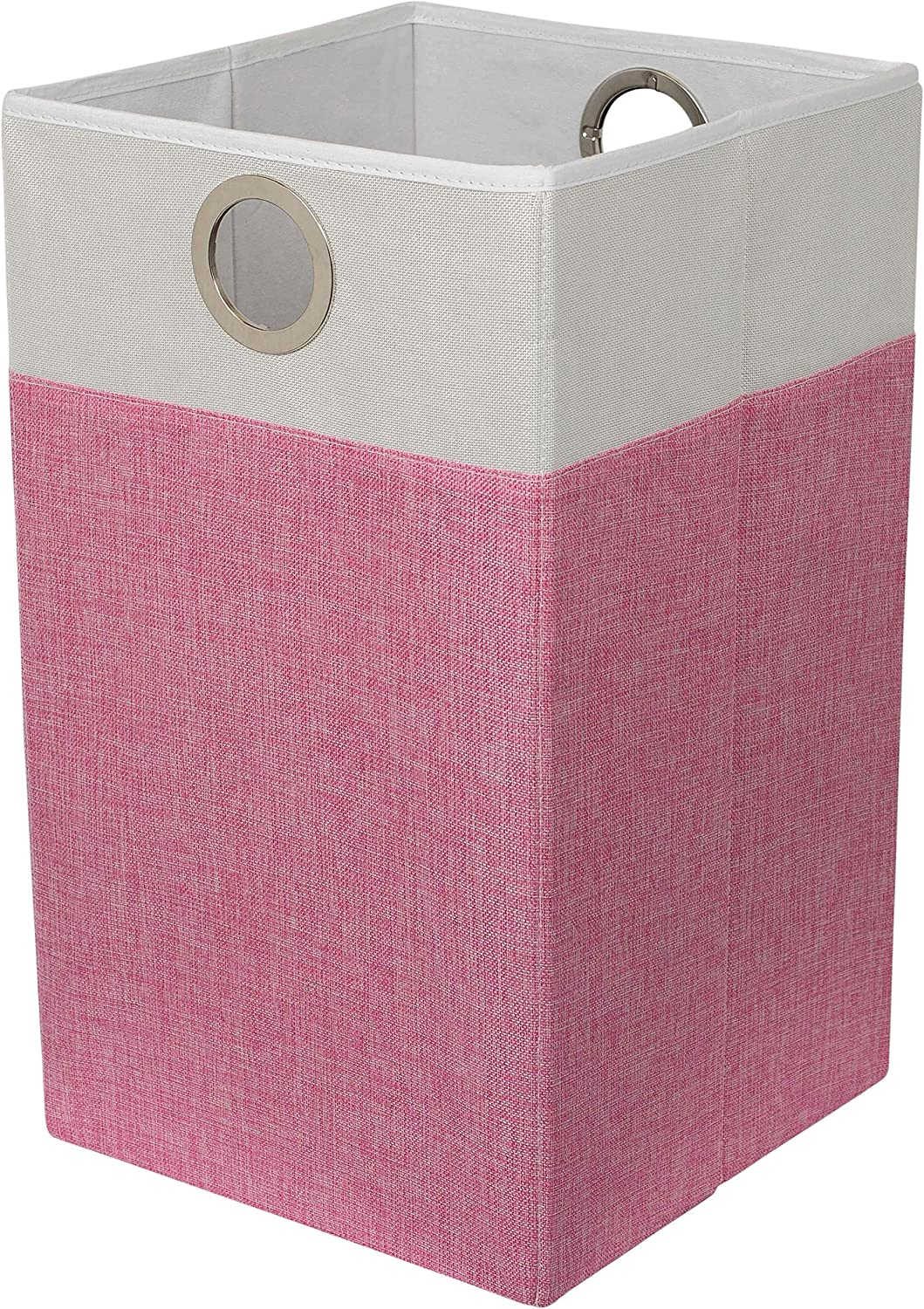 BirdRock Home Folding Cloth Laundry Hamper with Handles - Dirty Clothes Sorter - Easy Storage - Collapsible - Pink and White