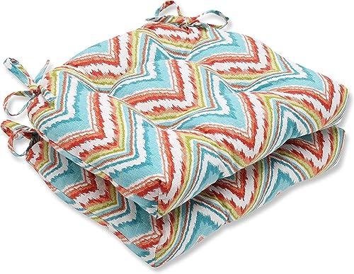 Pillow Perfect Chevron Charade Capri Reversible Chair Pad, Set of 2
