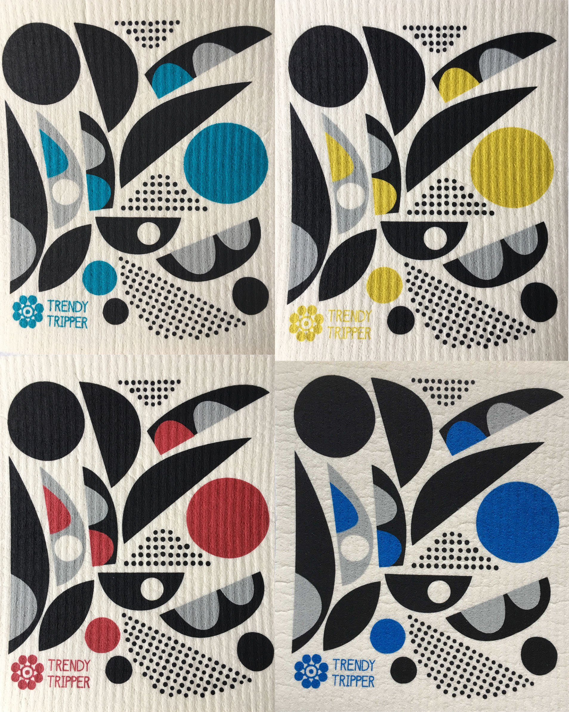 Trendy Tripper Swedish Dishcloths, Set of 4 MID-CENTURY MODERN ABSTRACT Designs (Set of 4 Abstract with 3 colors)
